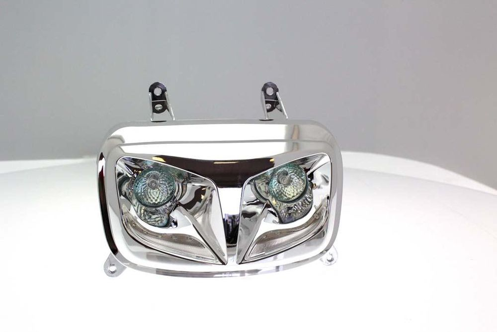 Koplamp Chroom look Yamaha Booster + dagrijverlichting wit led R8