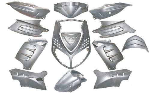 Kappenset special Peugeot Speedfight 2 Dmp 12 delig metallic zilver