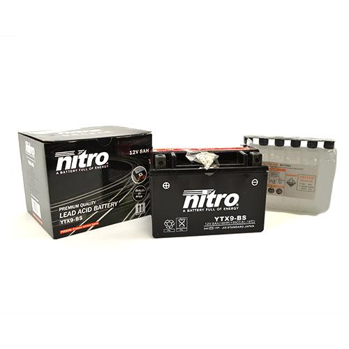 Accu YTX9 BS Nitro onderhoudsvrij inclusief zuurpakket